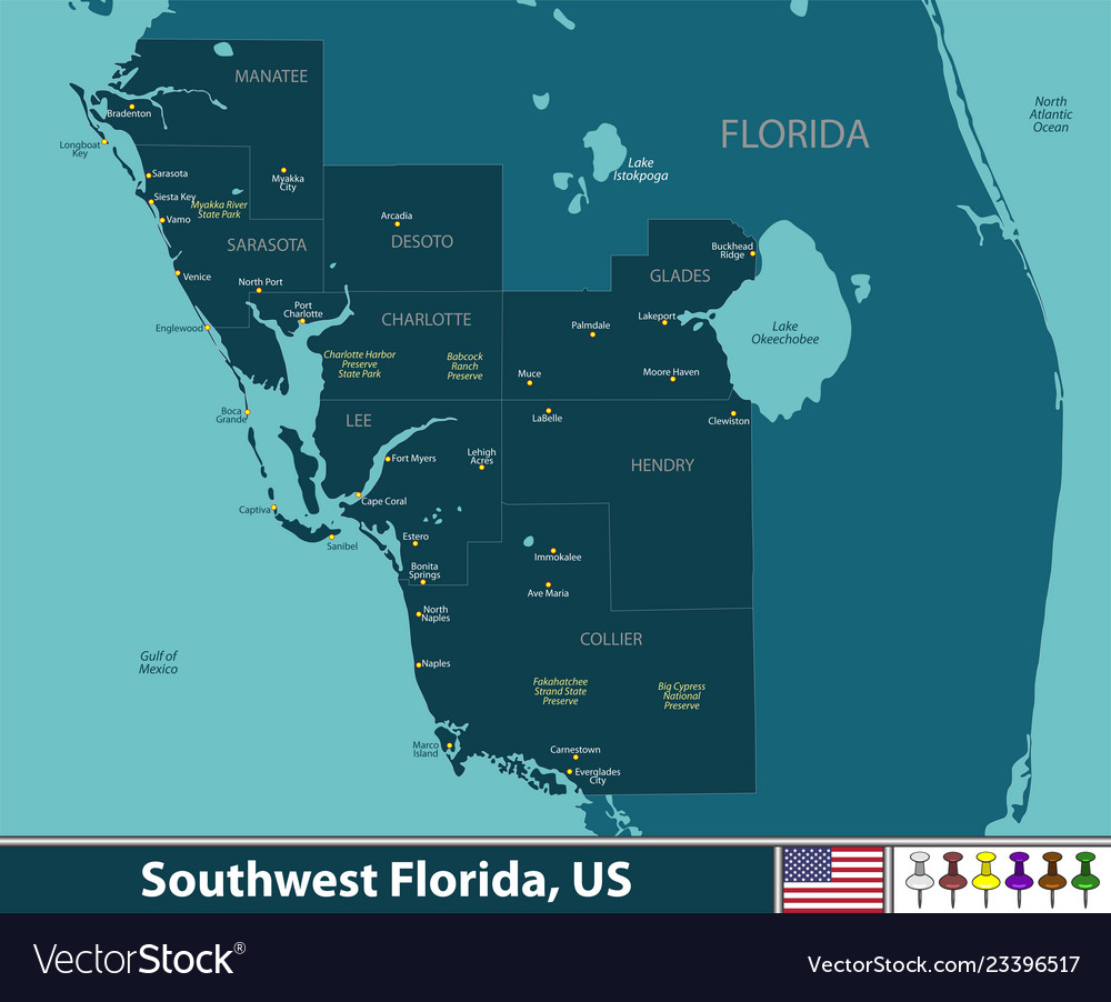 Map Southwest Florida.Southwest Florida United States