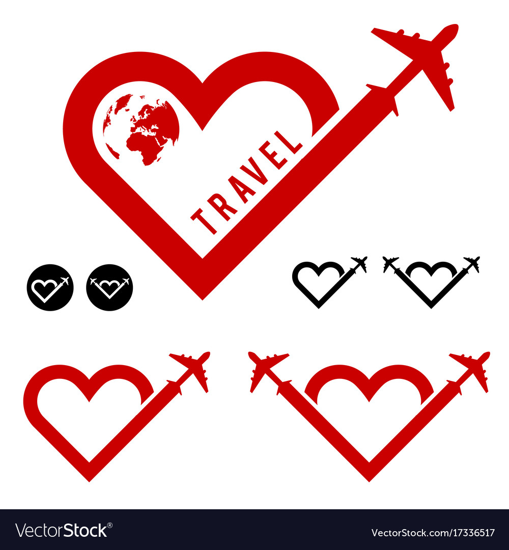 Travel Love In Heart Icon Set Royalty Free Vector Image