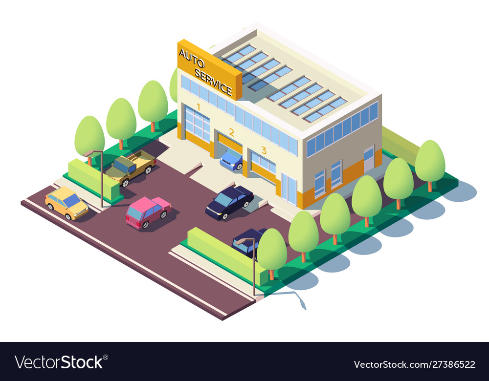 3d isometric modern car auto service with parking