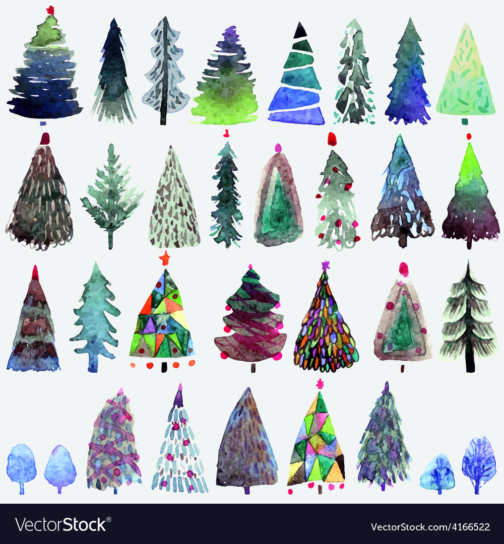 Watercolour Christmas Tree: Big Collection Of Watercolor Christmas Tree Vector Image