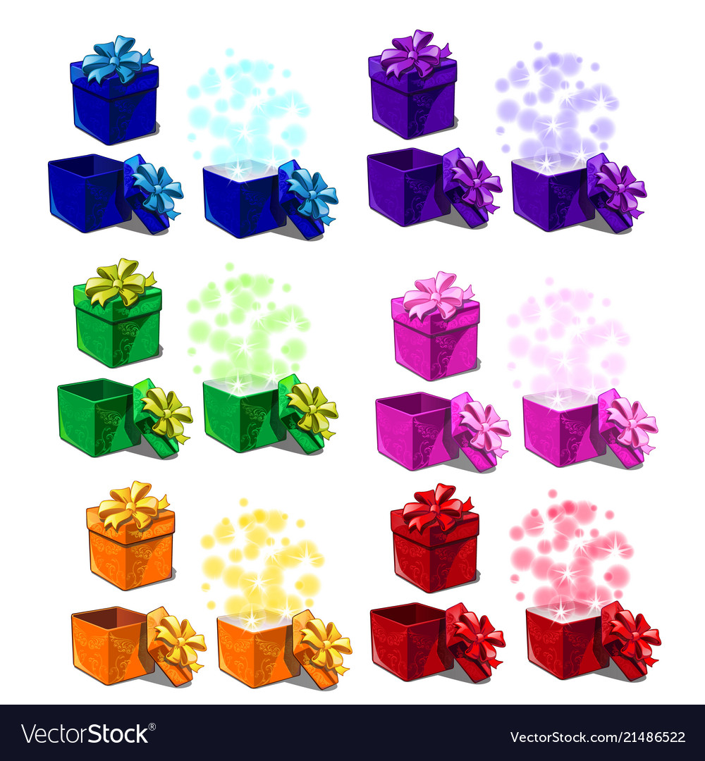 Big set gift boxes isolated on white background