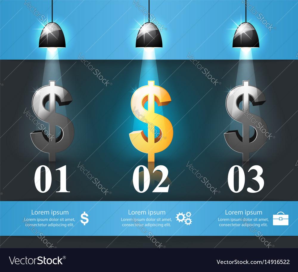 Business infographics dollar money icon