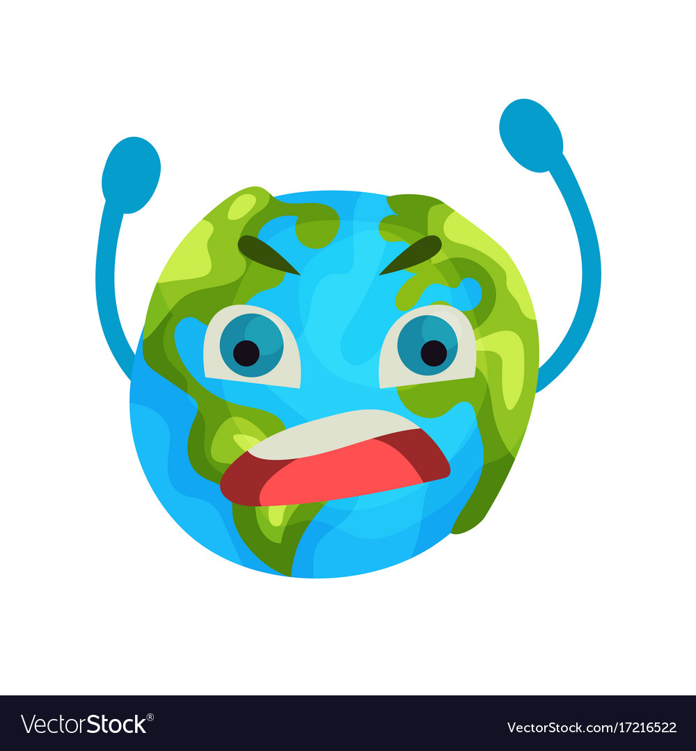 Cartoon furious earth planet emoji humanized