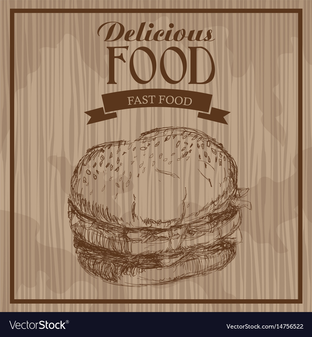 Delicious food burger fast food hand drawn