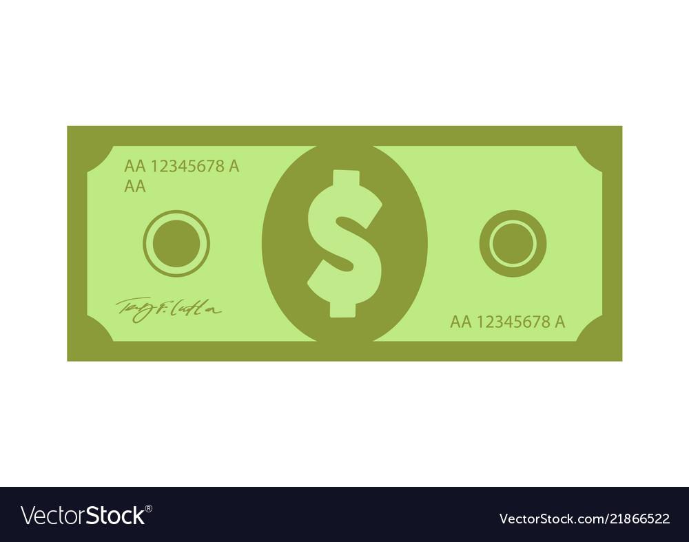 Flat green banknote dollar money