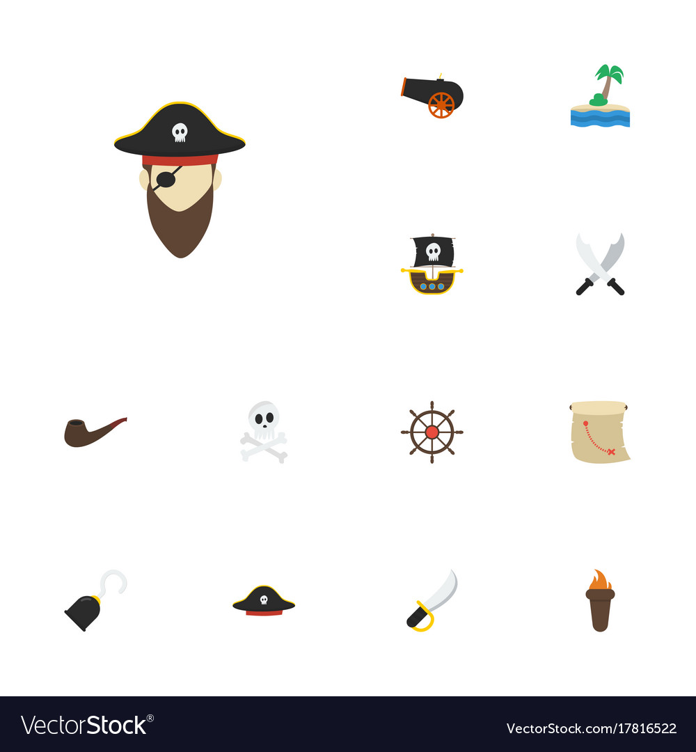 4c019103 Flat icons cranium corsair pirate hat and other Vector Image