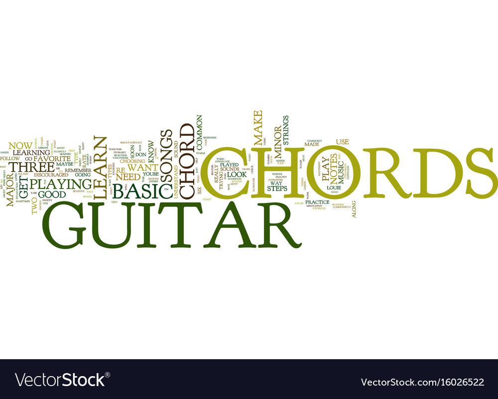 Free Lesson On Basic Guitar Chords Text Royalty Free Vector