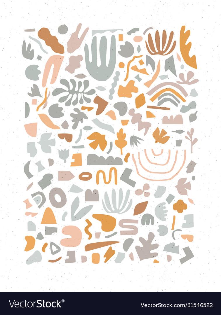 Handmade geometric abstract shapes grey and orange