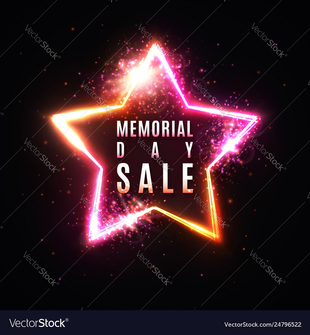 Memorial day sale banner realistic glowing star