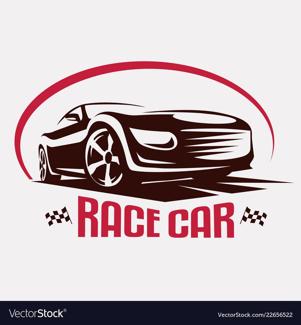 Race car symbol logo template stylized silhouette