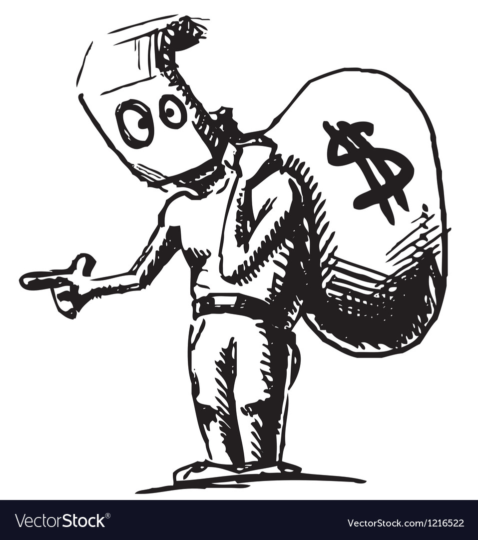 Robber In A Mask And With Money Bag Royalty Free Vector