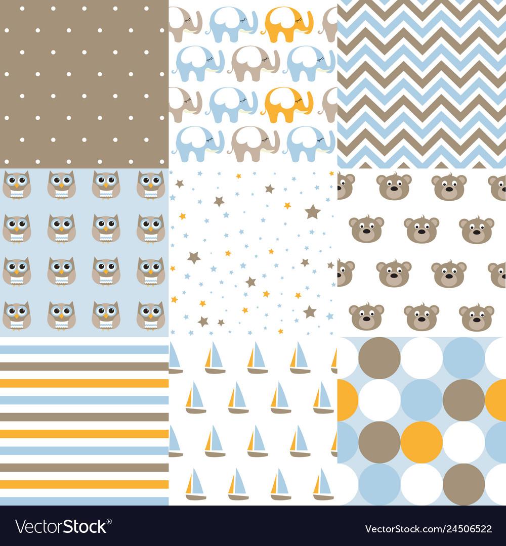 Set of baby boy patterns seamless pattern