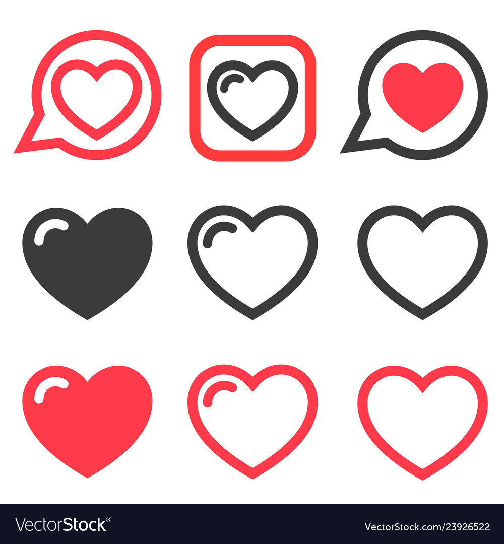Set of red and black heart icons