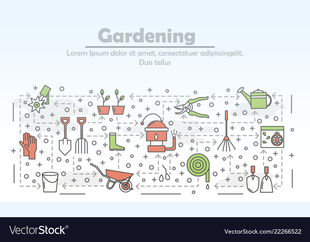 Thin line gardening poster banner template