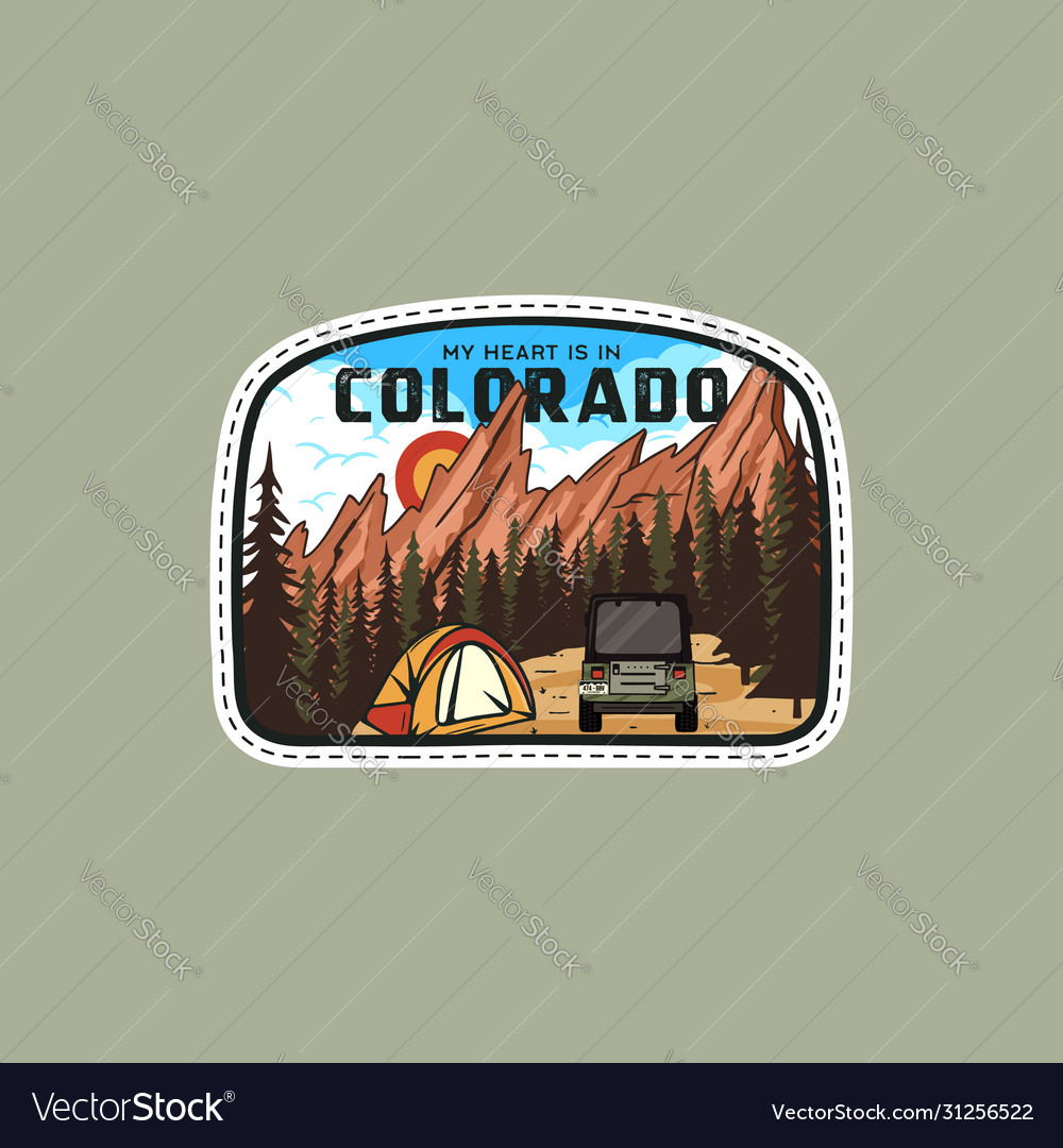 Vintage adventure badge patch with mountains tent