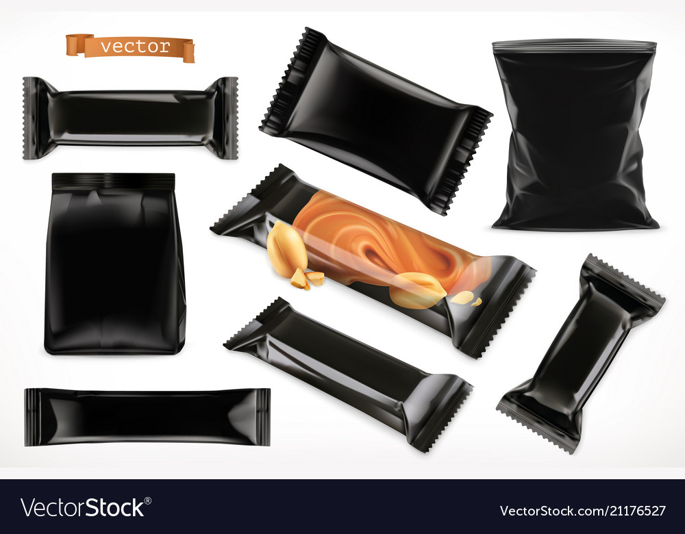 Black polymer packaging for foods chocolate bar