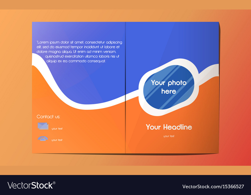Blue Orange A4 Brochure Template Royalty Free Vector Image