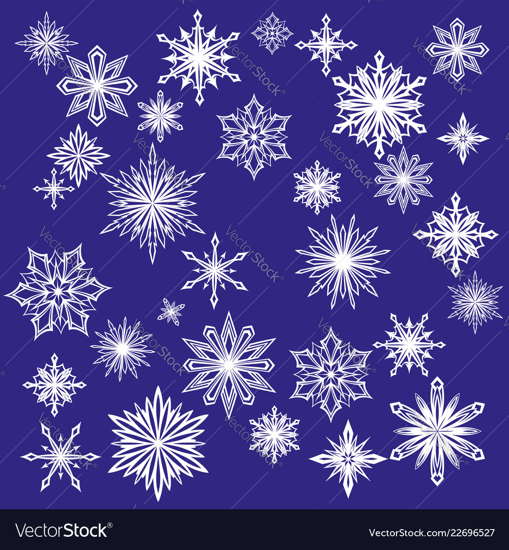 Collection of decorative snowflakes set winter