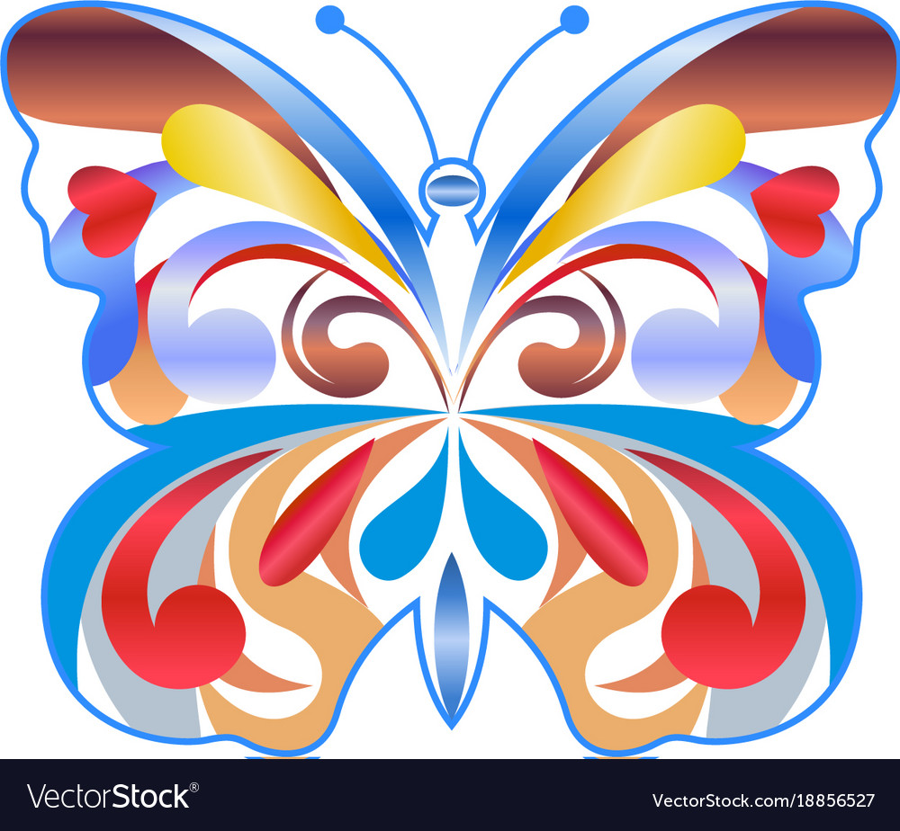 Colorful Butterfly Color Icon Royalty Free Vector Image