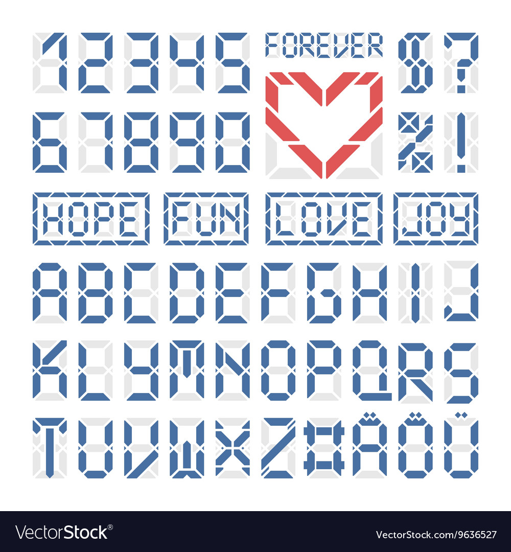Digital font latin alphabet letters and numbers