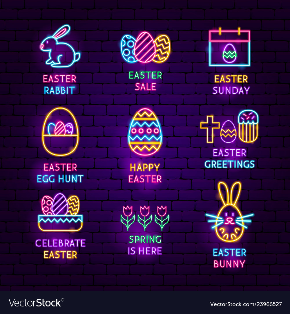 Easter neon label set