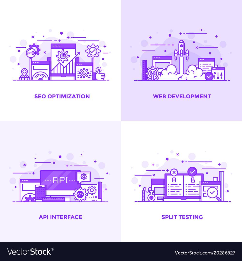 Flat line purple designed concepts 13 vector image