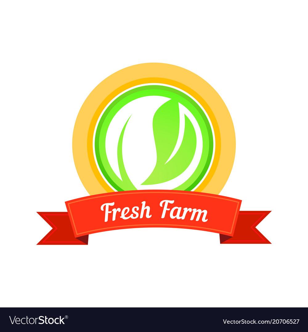 Fresh farm stamp vector image