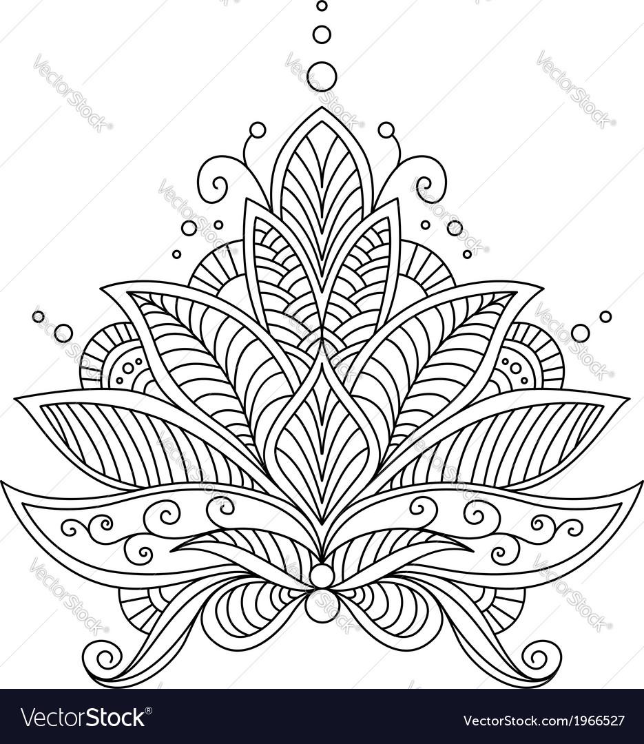 Intricate Delicate Floral Design Motif Vector Image