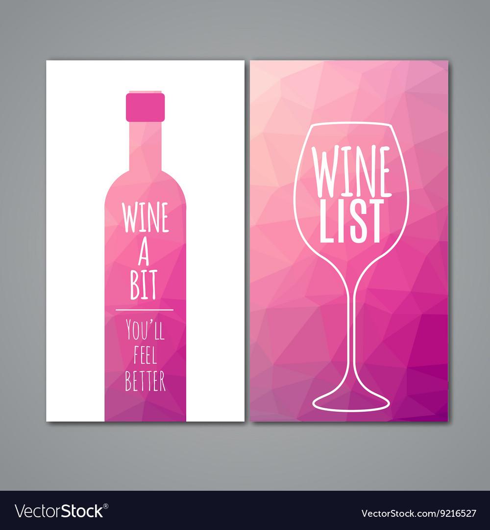 Polygonal wine menu design template Restaurant