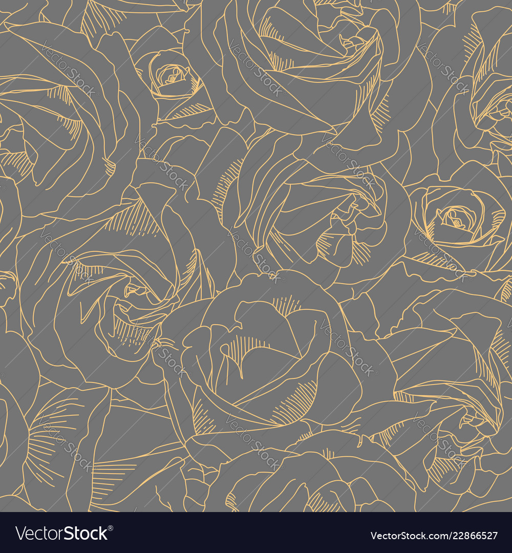 Roses bud outlines seamless pattern with flowers