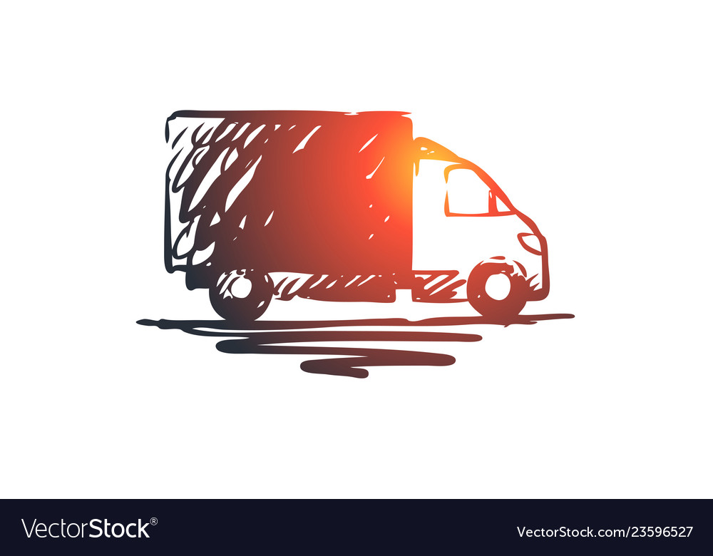 Truck delivery vehicle transport cargo concept