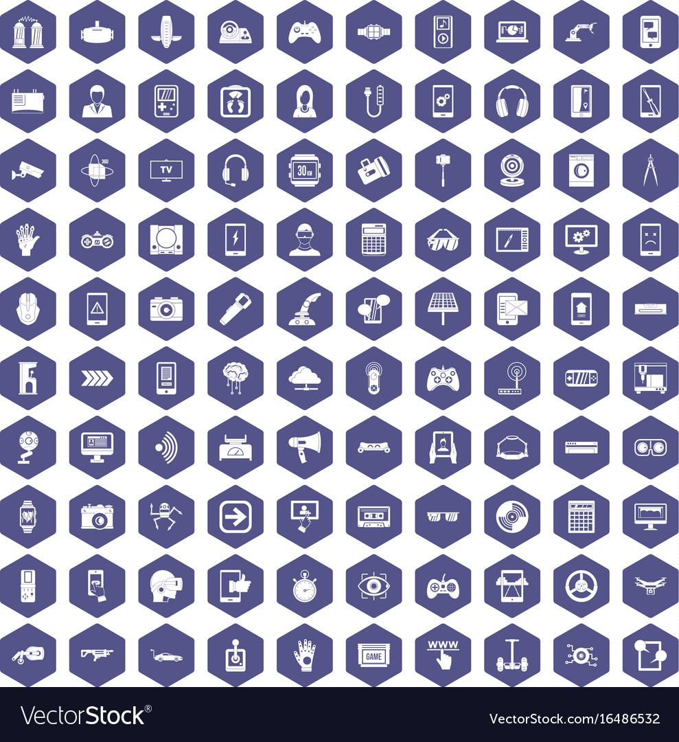 100 gadget icons hexagon purple