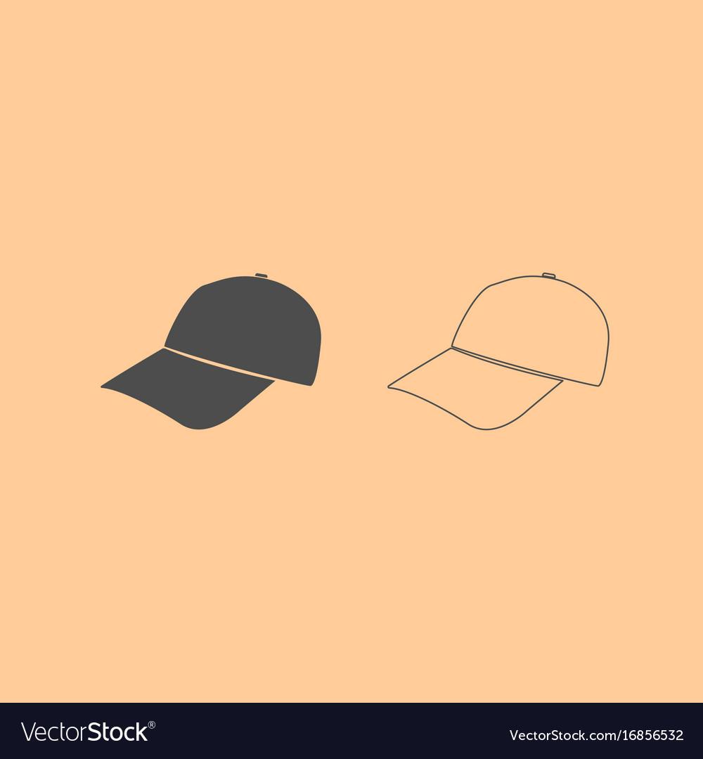 Baseball cap dark grey set icon