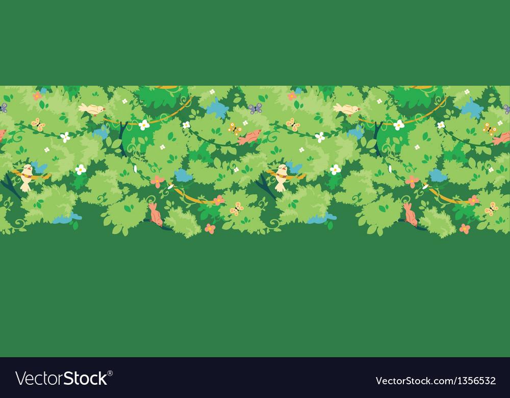 Birds among branches horizontal seamless pattern