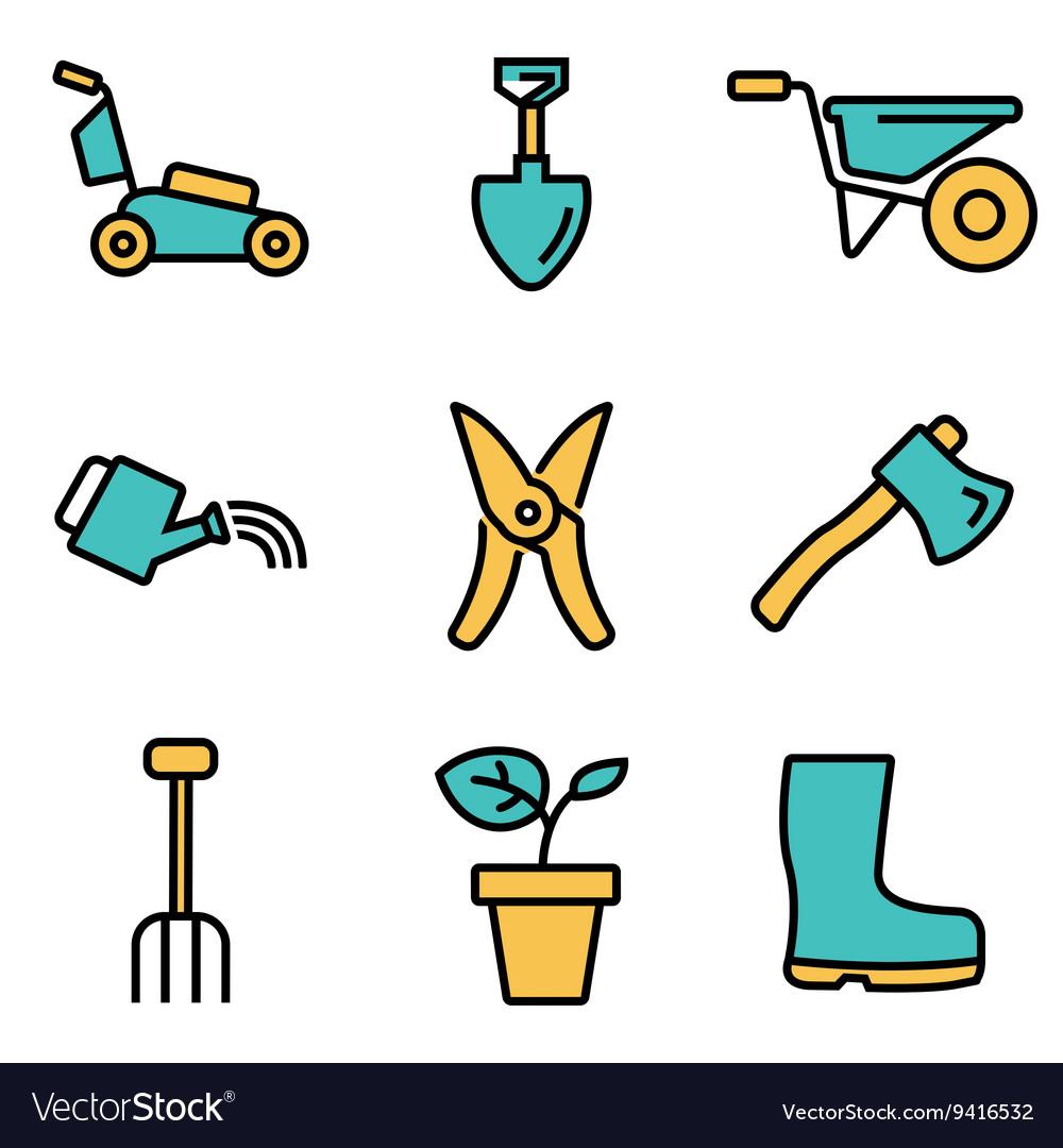 Flat line gardening icons set vector image