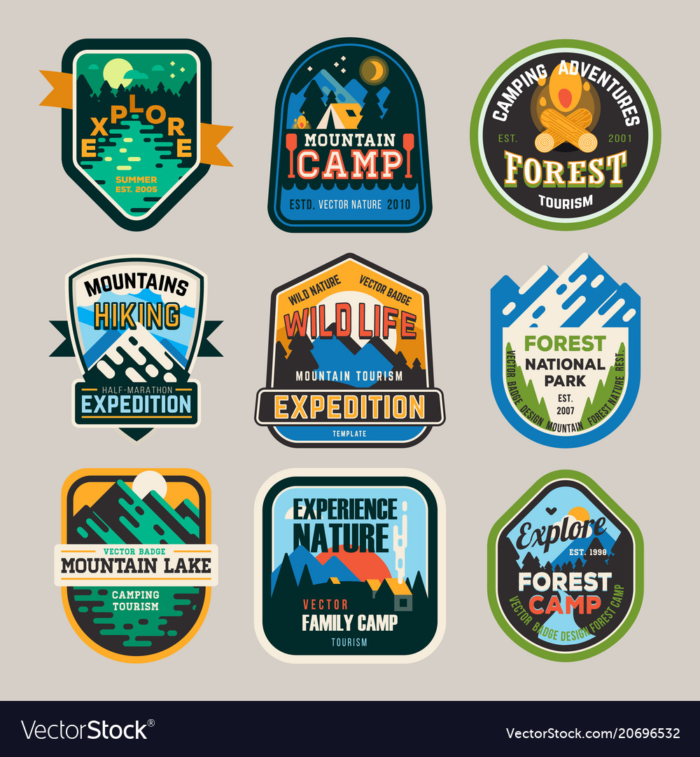 Isolated signs logo for camping club exploration