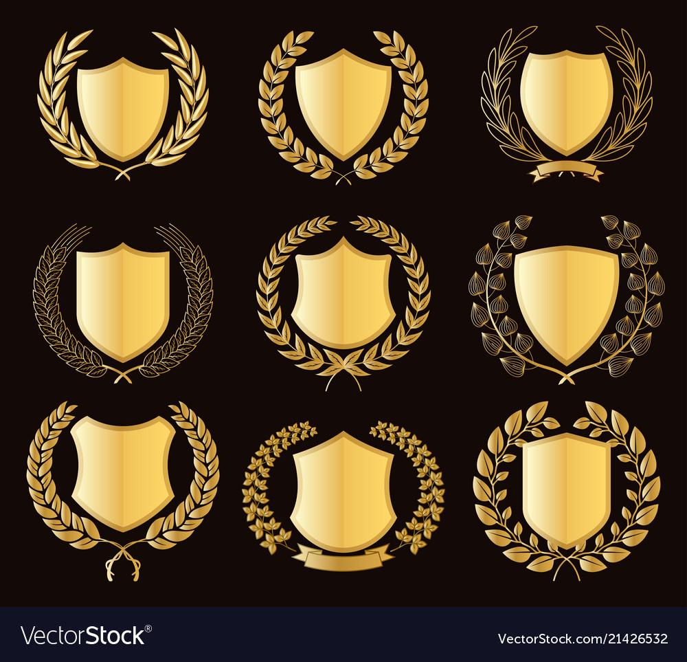 Luxury golden badges laurel wreath collection
