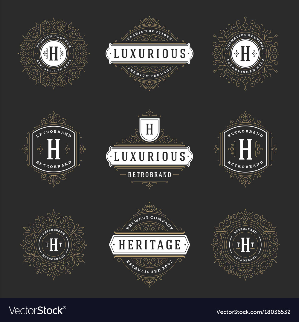 Luxury logos templates set flourishes