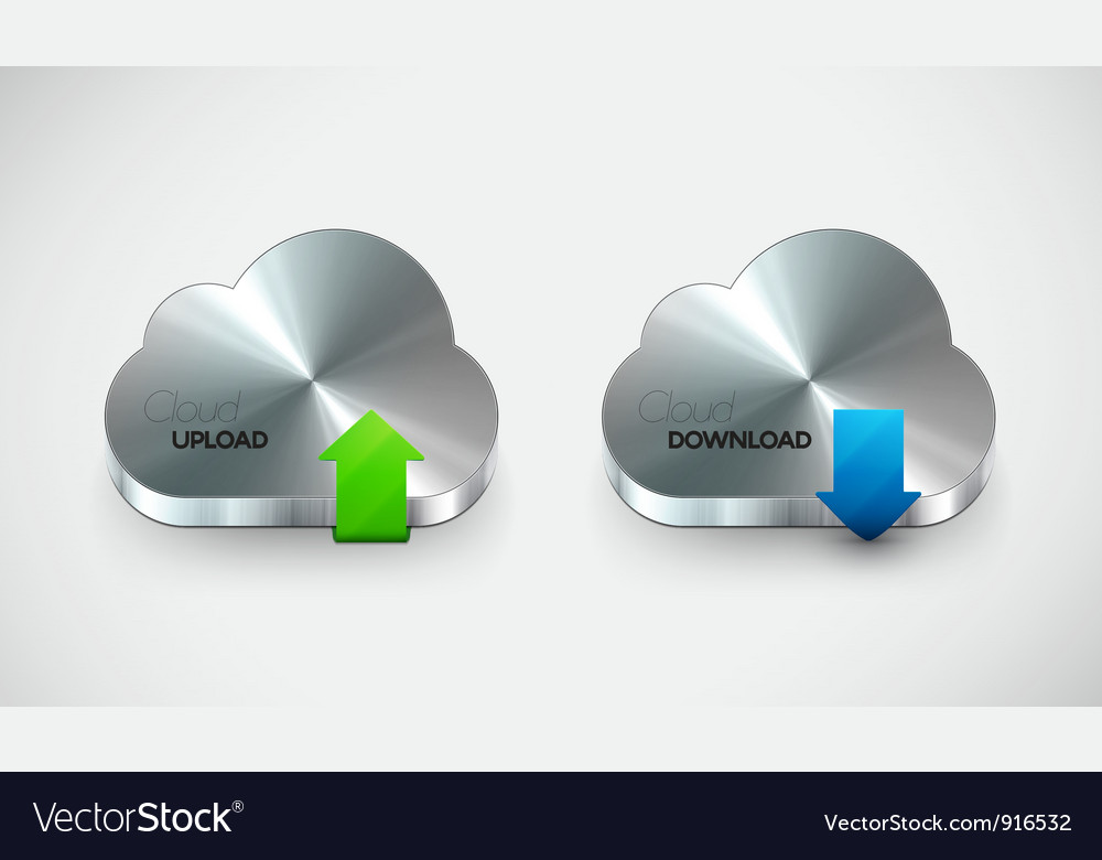 Metal cloud icon set