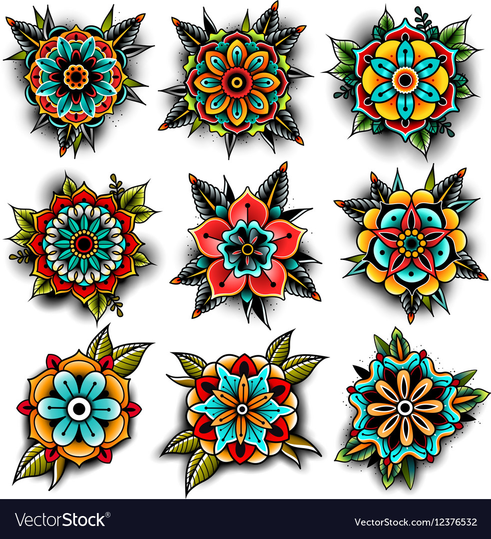 Old school tattoo flowers set