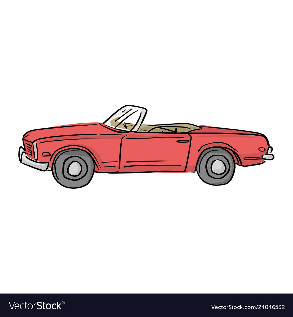 Red retro convertible car with