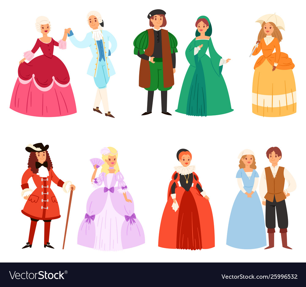 Renaissance clothing woman man character in