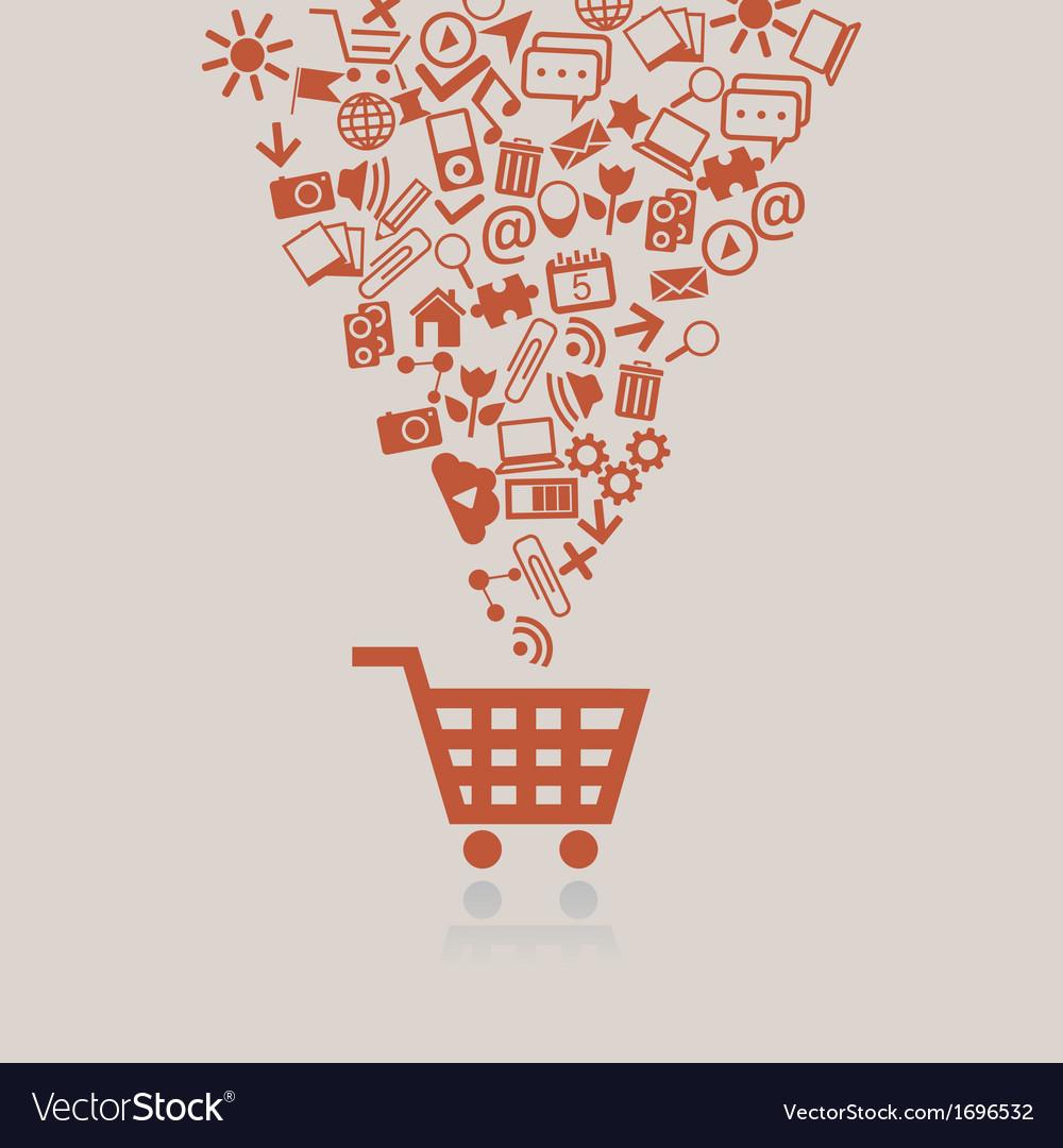 Shopping cart concept vector image