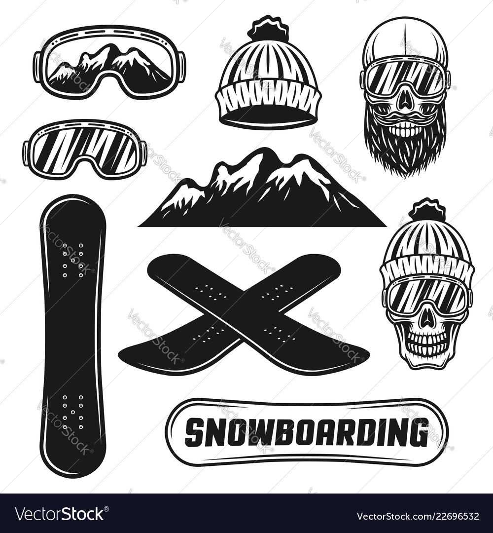 Snowboarding equipment set of objects