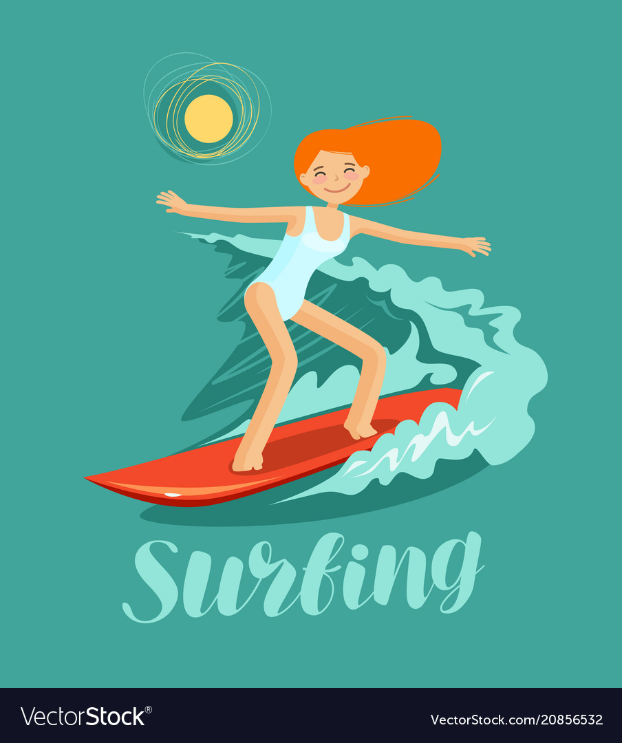Surfer girl and wave surfing