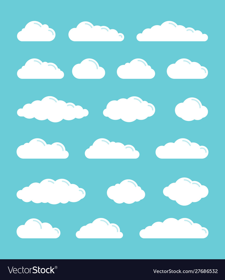 White flat simple clouds icons set