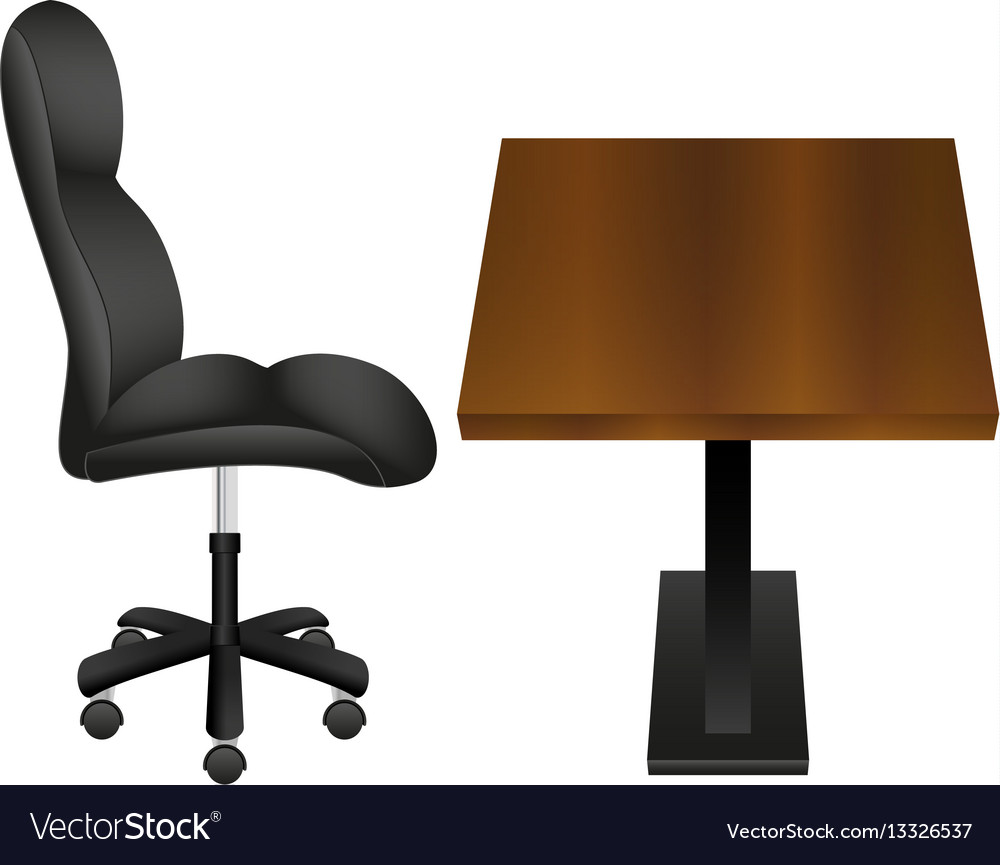 Black chair and wooden desk