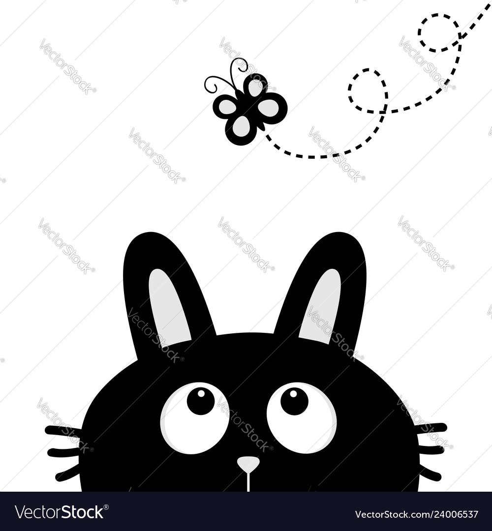 Black rabbit bunny face head silhouette looking
