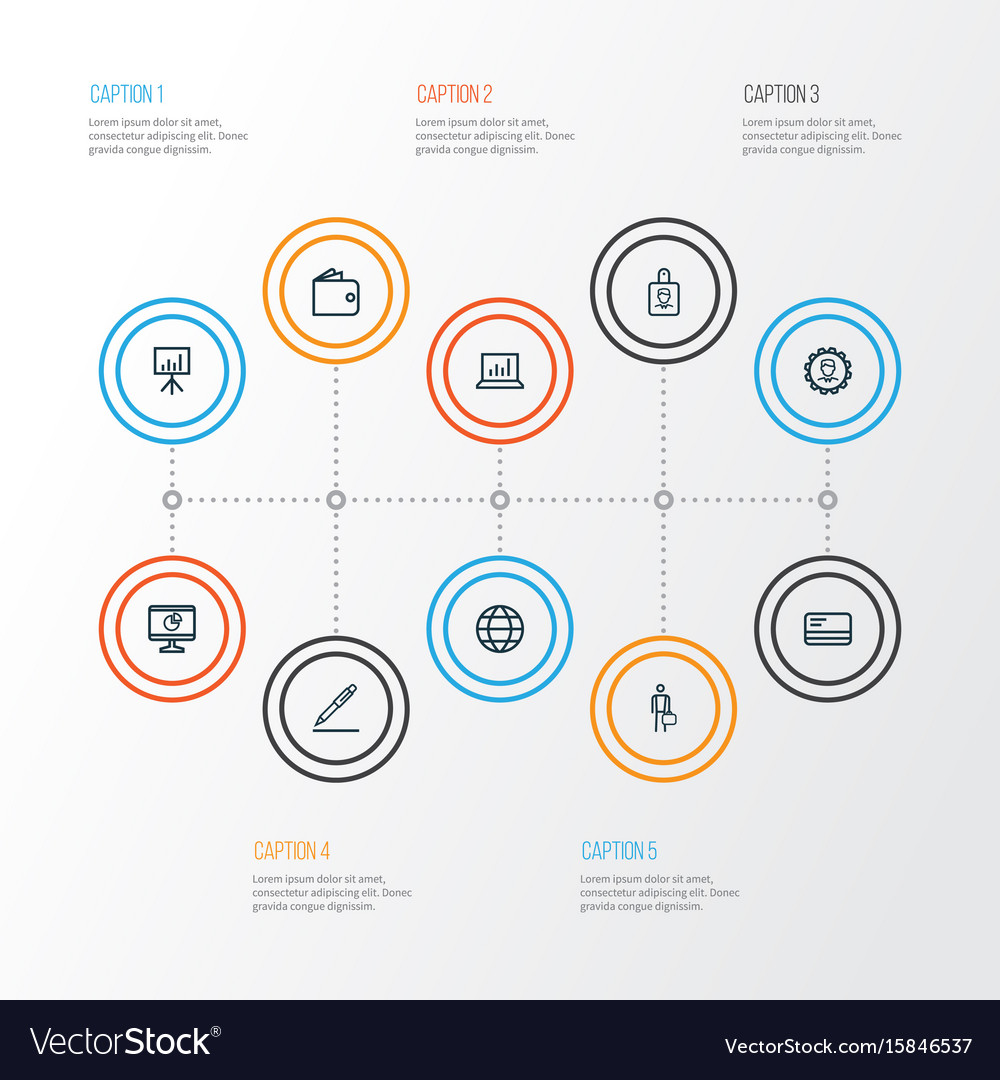 Business outline icons set collection of bank