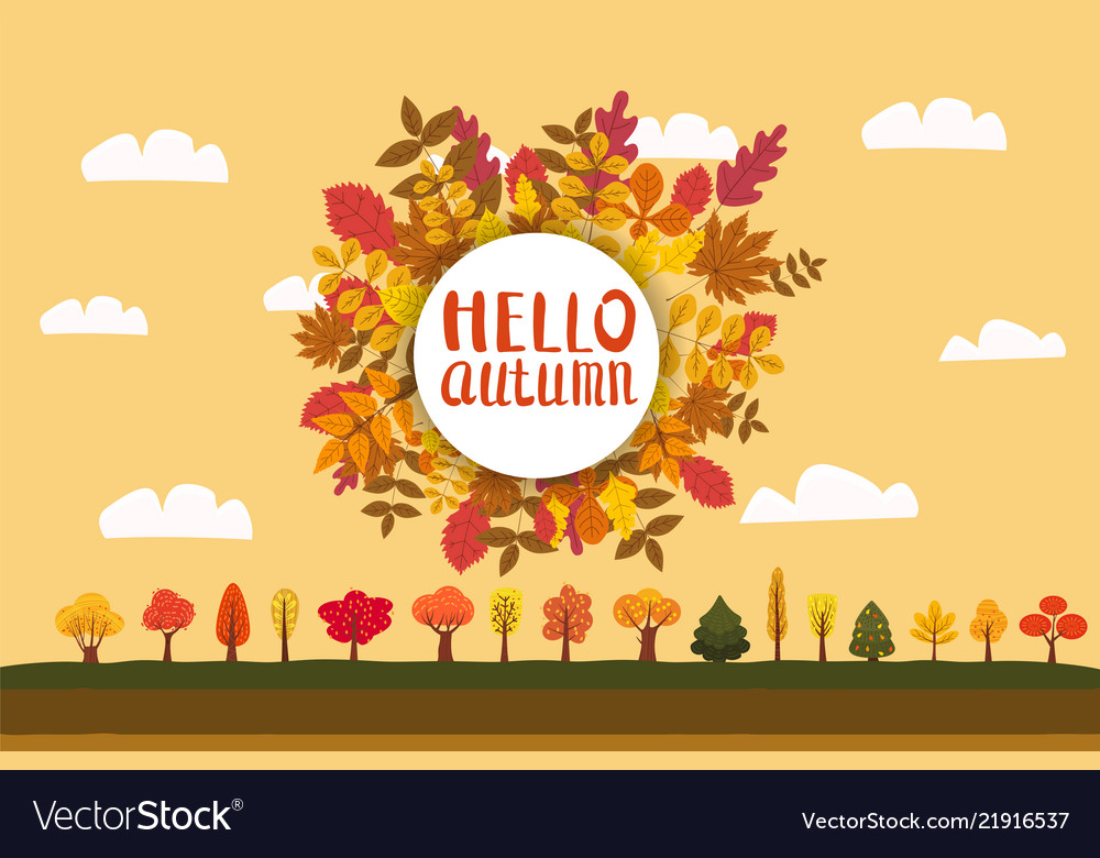 Hello autumn background with falling leaves